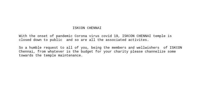 Contribute to Iskcon Chennai