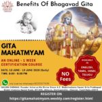 Online – GITA MAHATMYAM – FREE 1 Week Certification Course – June13 to June 19
