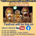 Sri Jagannath Snan Yatra festival online on 24th June 2021 10.30 am to 1 pm